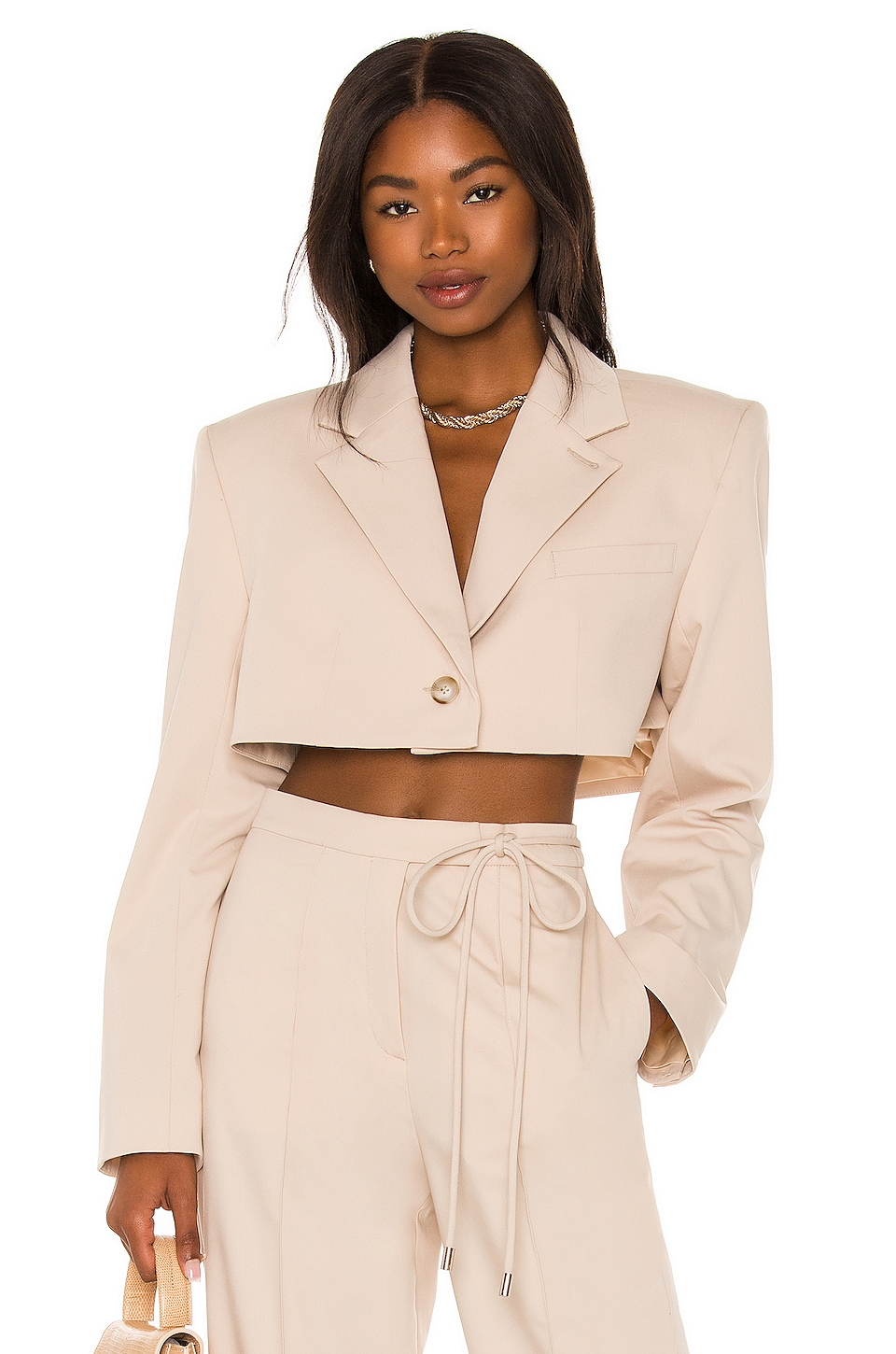 Serafina Cropped Blazer by LAcademie, available on revolve.com for $298 Elsa Hosk Outerwear Exact Product