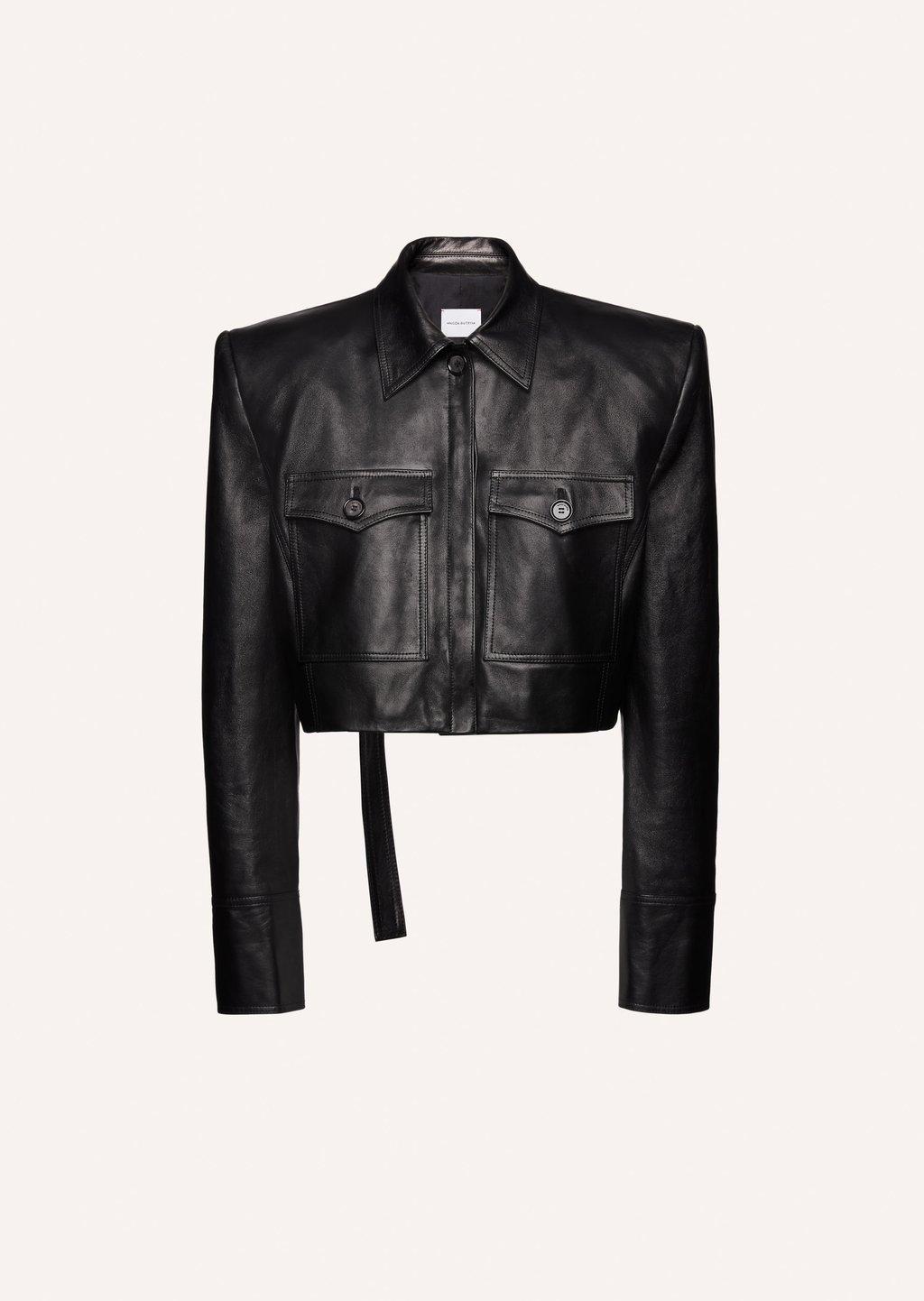 Sharp shoulder cropped leather jacket in black by Magda Butrym, available on magdabutrym.com for EUR1860 Elsa Hosk Top Exact Product