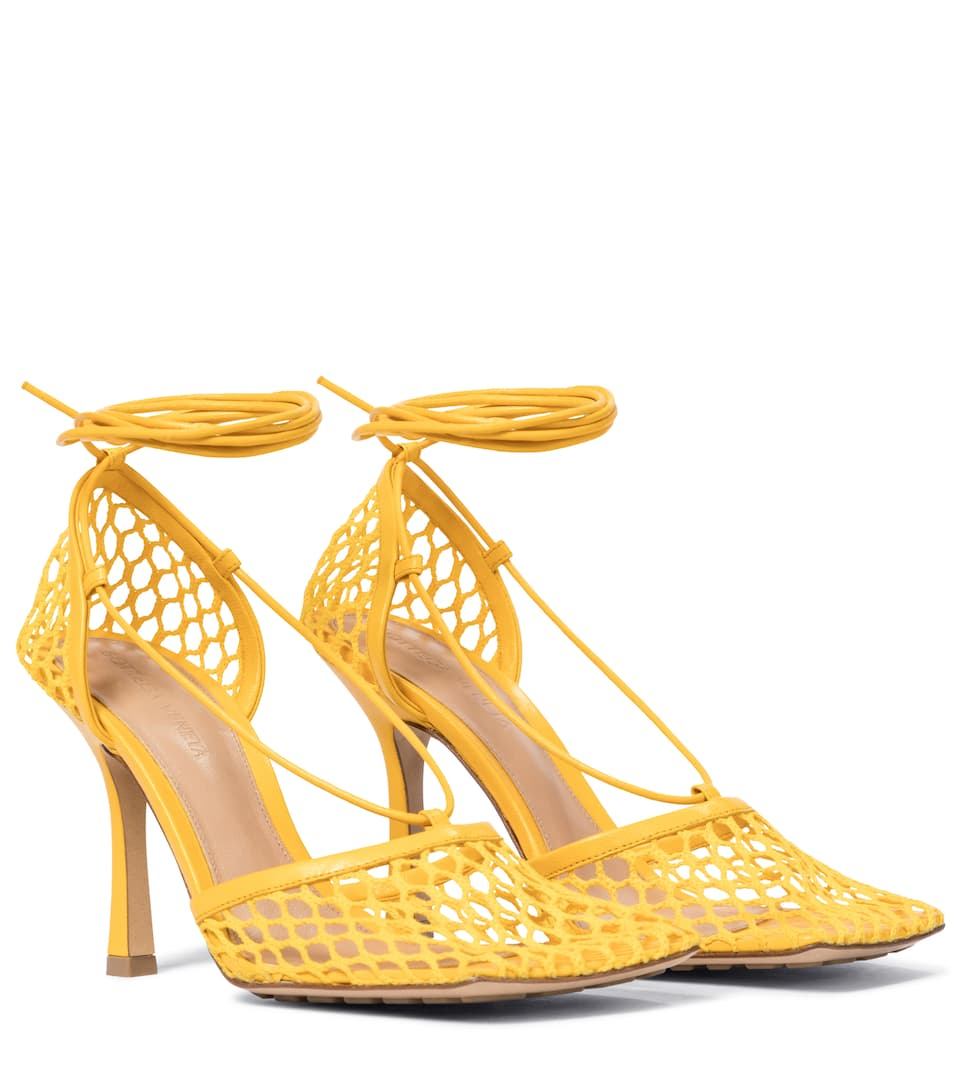 Stretch leather-trimmed mesh pumps by Bottega Veneta, available on mytheresa.com for $930 Elsa Hosk Shoes Exact Product