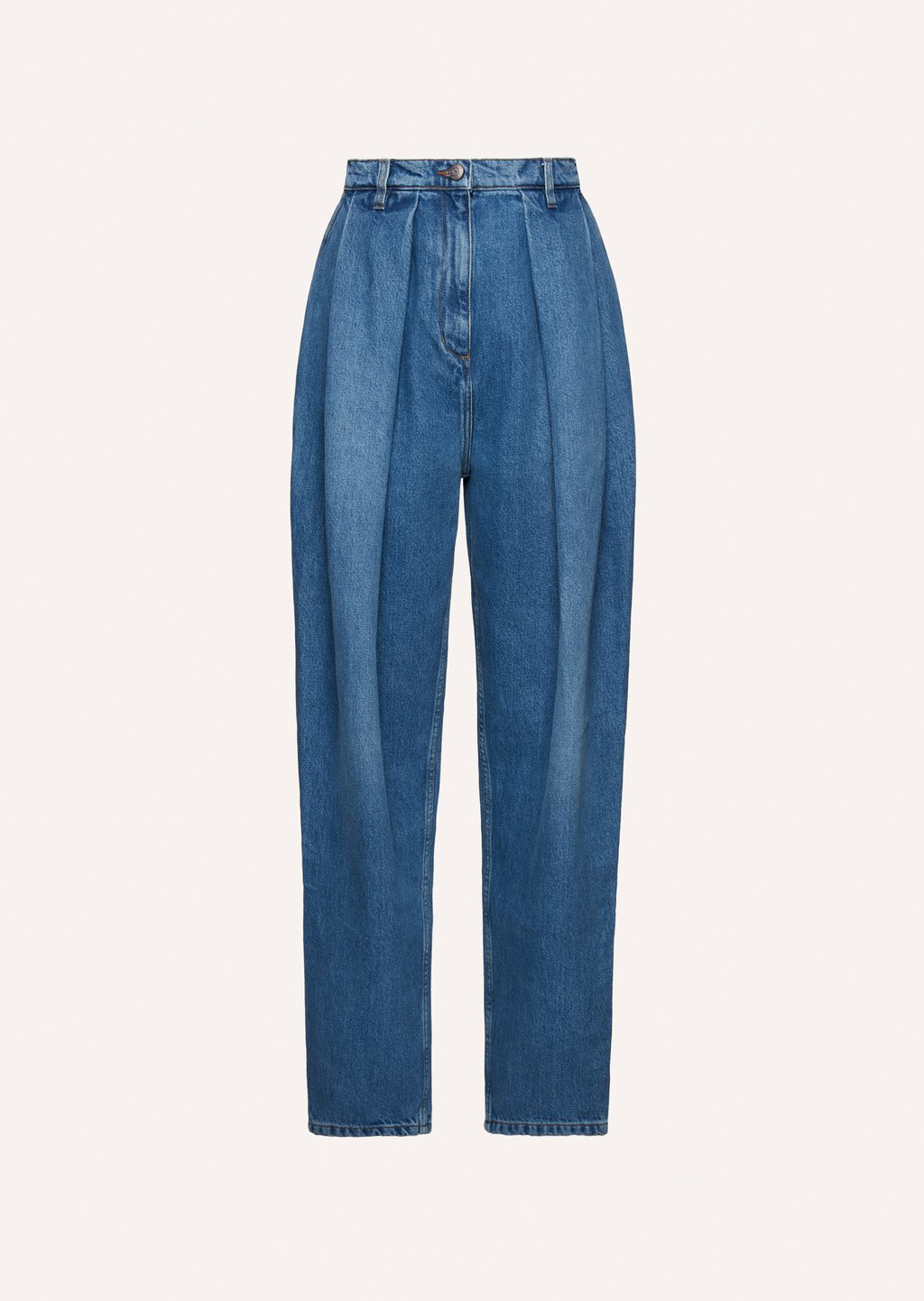 Tapered denim pant in classic blue by Magda Butrym, available on magdabutrym.com for $425 Elsa Hosk Pants Exact Product