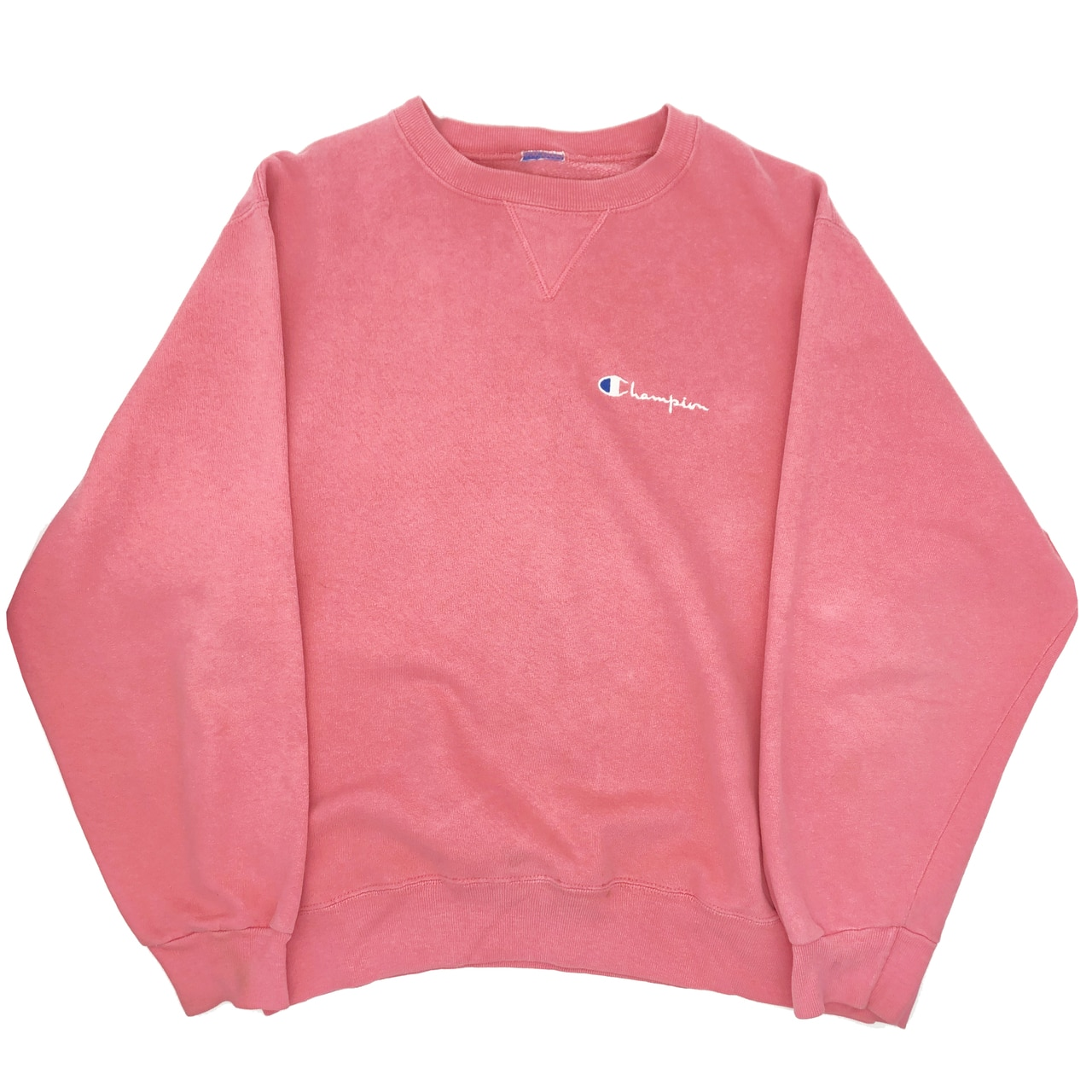 Vintage early 90s Champion pale pink Crewneck by Champion, available on firsttwelvemarket.com for $40 Elsa Hosk Top Exact Product
