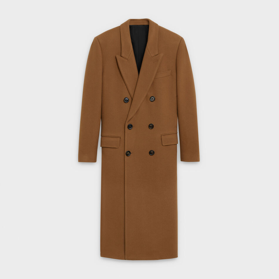 double-breasted overcoat in wool and cashmere by Celine, available on celine.com for £4150 Emilia Clarke Outerwear Exact Product