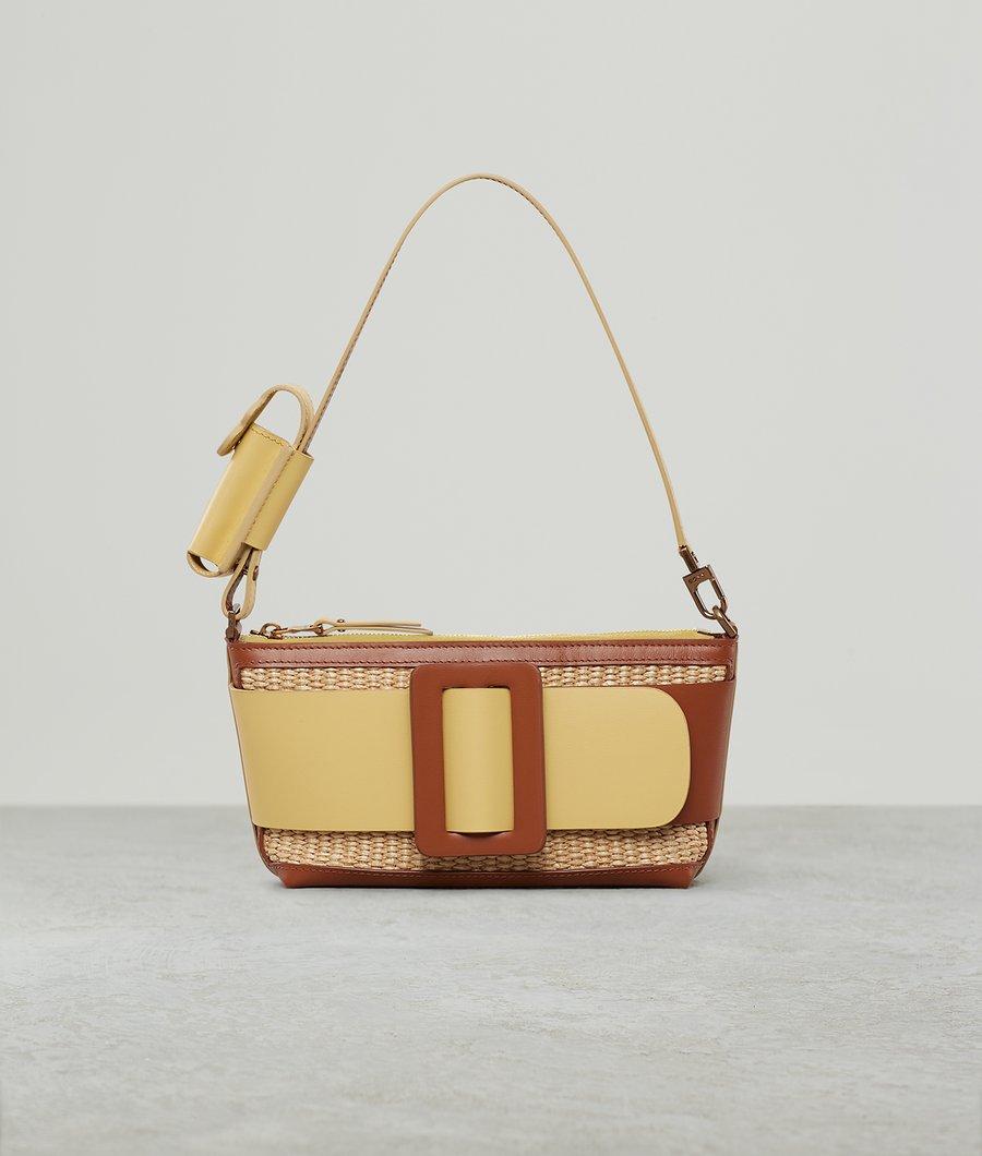 BUCKLE POUCHETTE RAFFIA COLOR BLOCK BRANDY/POLENTA by Boyy, available on boyy.com for $650 Emily Ratajkowski Bags Exact Product