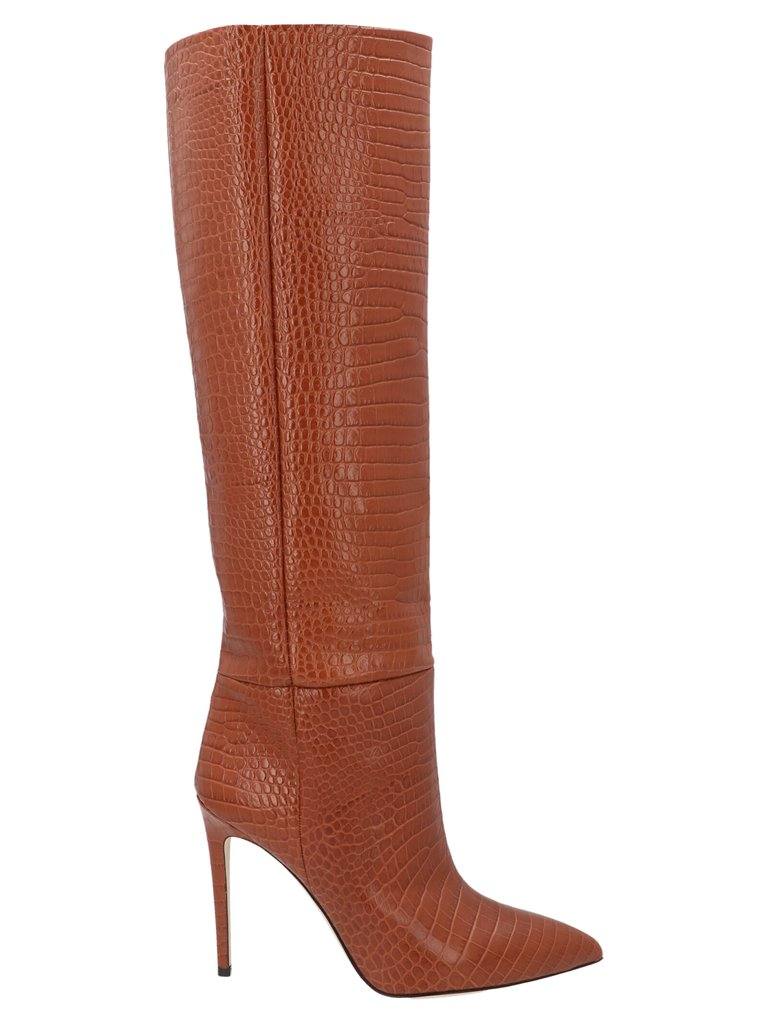 Embossed Stiletto Boots by Paris Texas, available on cettire.com for $384.69 Emily Ratajkowski Shoes Exact Product