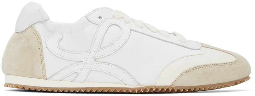 Off-White & White Ballet Runner Sneakers by Loewe, available on ssense.com for $750 Emily Ratajkowski Shoes Exact Product