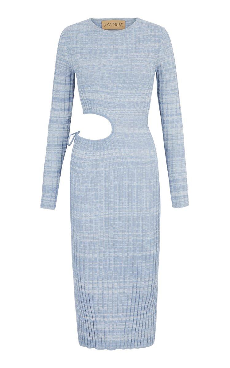 Shale Cutout Knit Midi Dress by Aya Muse, available on modaoperandi.com for $465 Emily Ratajkowski Dress Exact Product