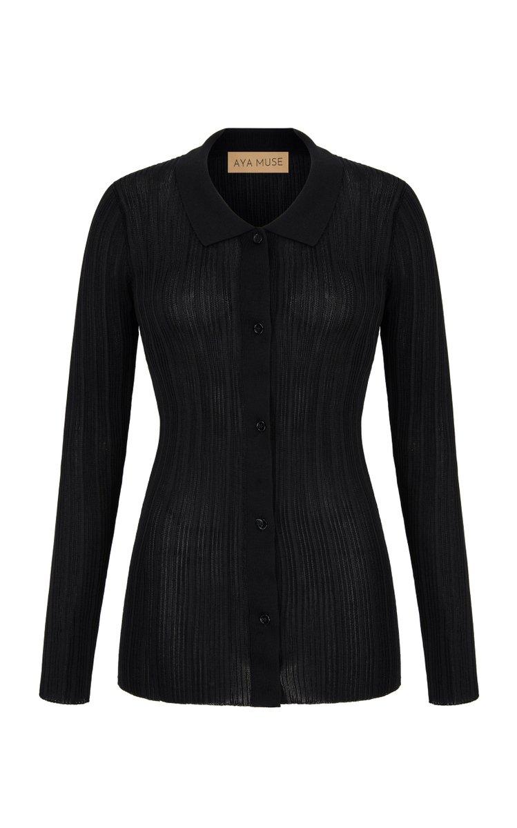 Tourmaline Collared Top by Aya Muse for $290 Emily Ratajkowski Top Exact Product