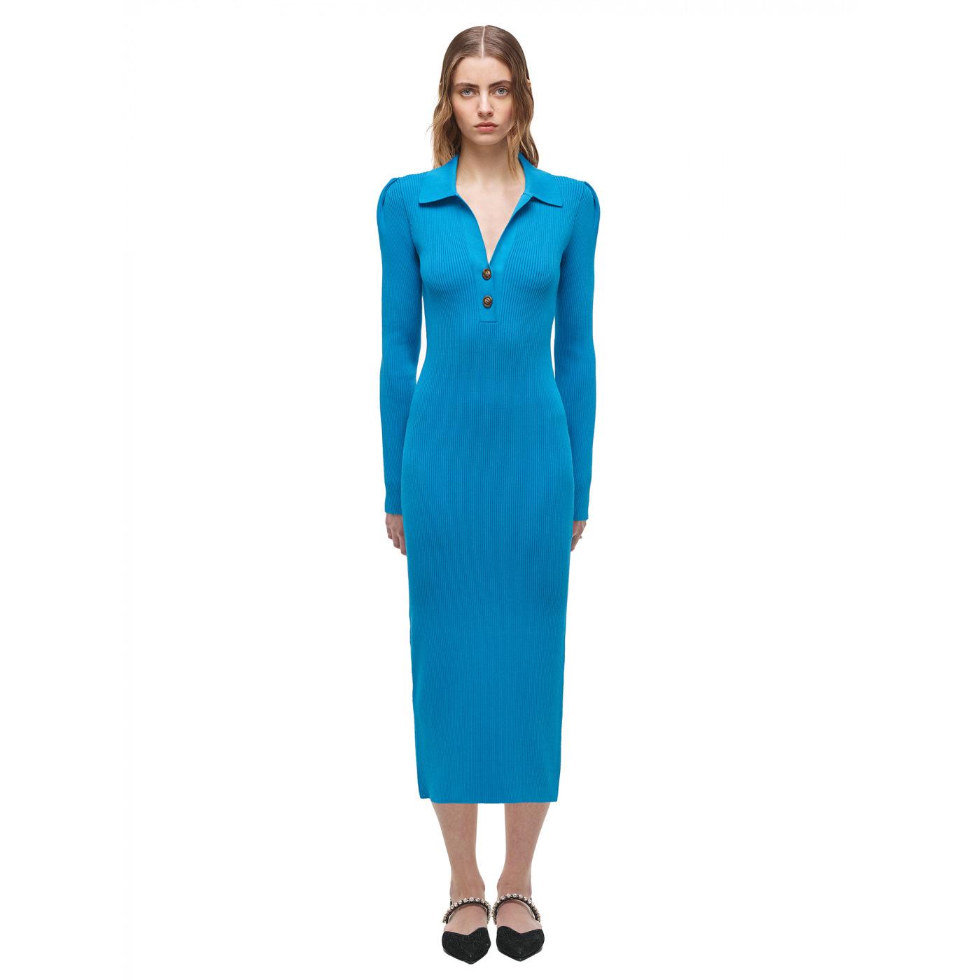 Vivid Blue Ribbed Knit Midi Dress by Self portrait, available on self-portrait-studio.com for $455 Emily Ratajkowski Dress Exact Product