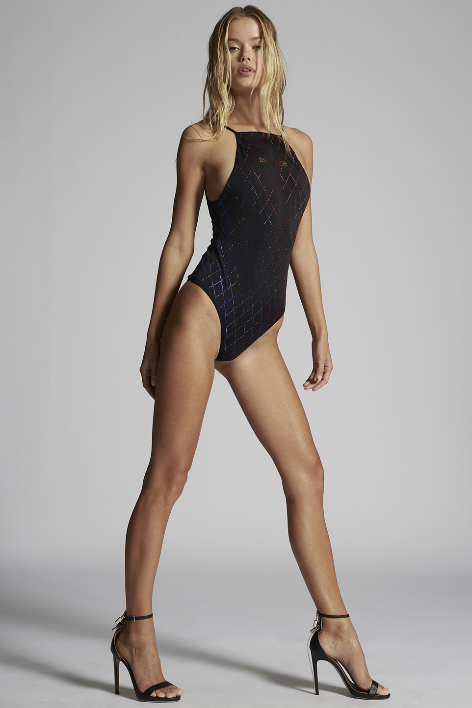 Rainbow Crystal Swimsuit by Dsquared2, available on dsquared2.com for $580 Frida Aasen Dress Exact Product