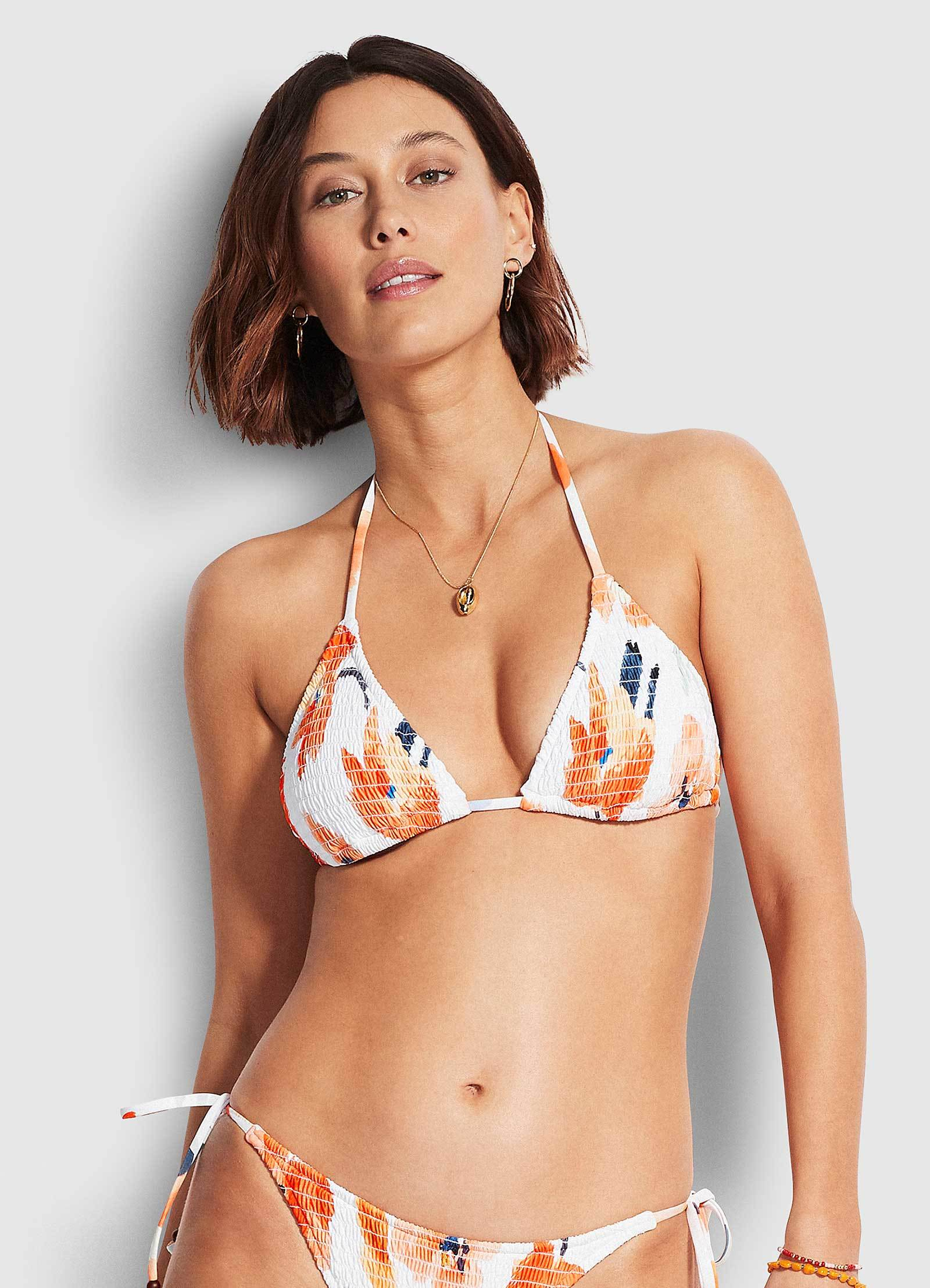 SUMMER MEMOIRS SHIRRED SLIDE TRI by Seafolly, available on 31273-883-White.html for $88 Georgia Fowler Top Exact Product