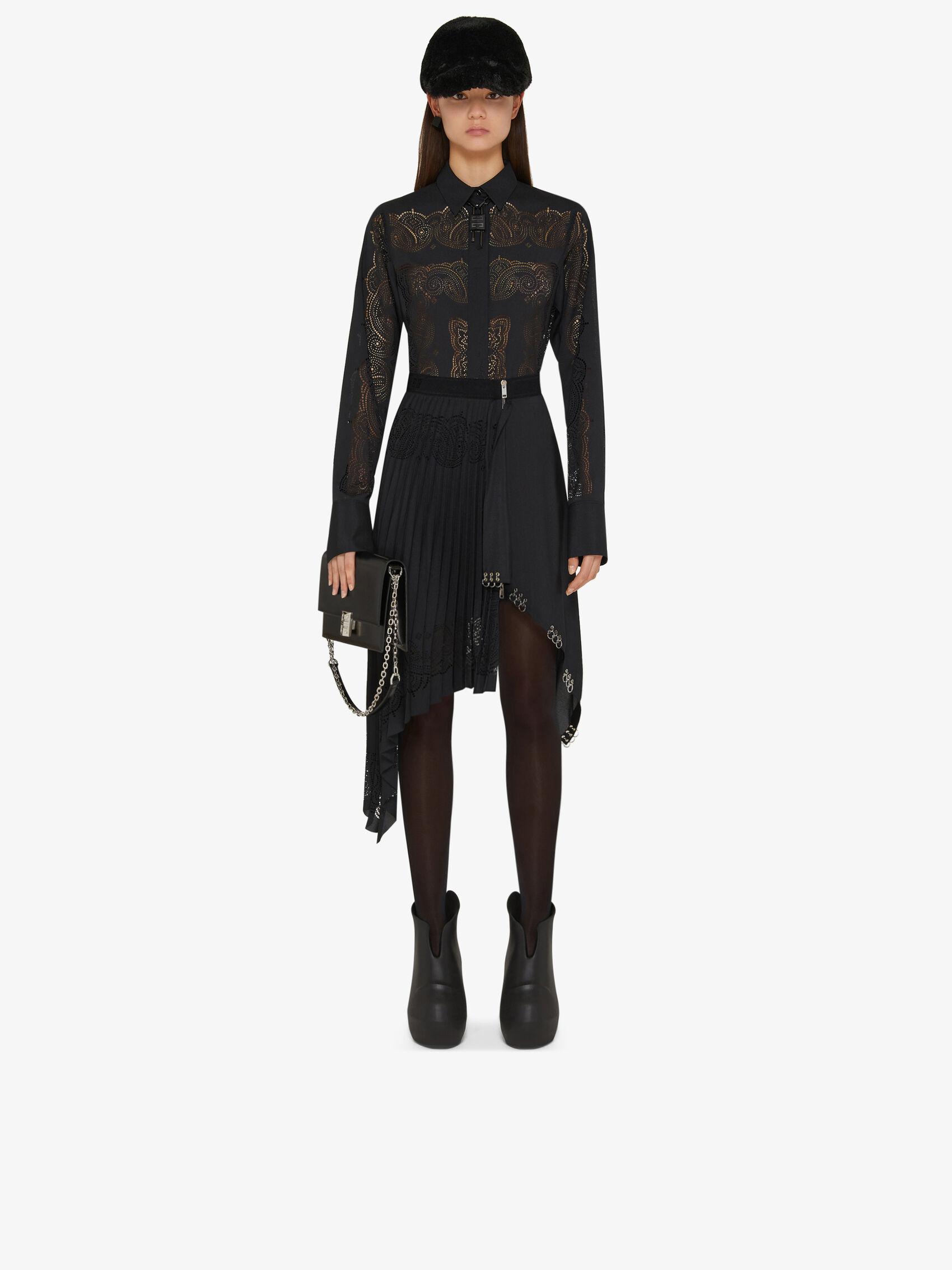 ASYMMETRICAL SKIRT WITH METALLIC DETAILS AND BANDANA PRINT by Givenchy, available on givenchy.com for $2590 Gigi Hadid Skirt Exact Product
