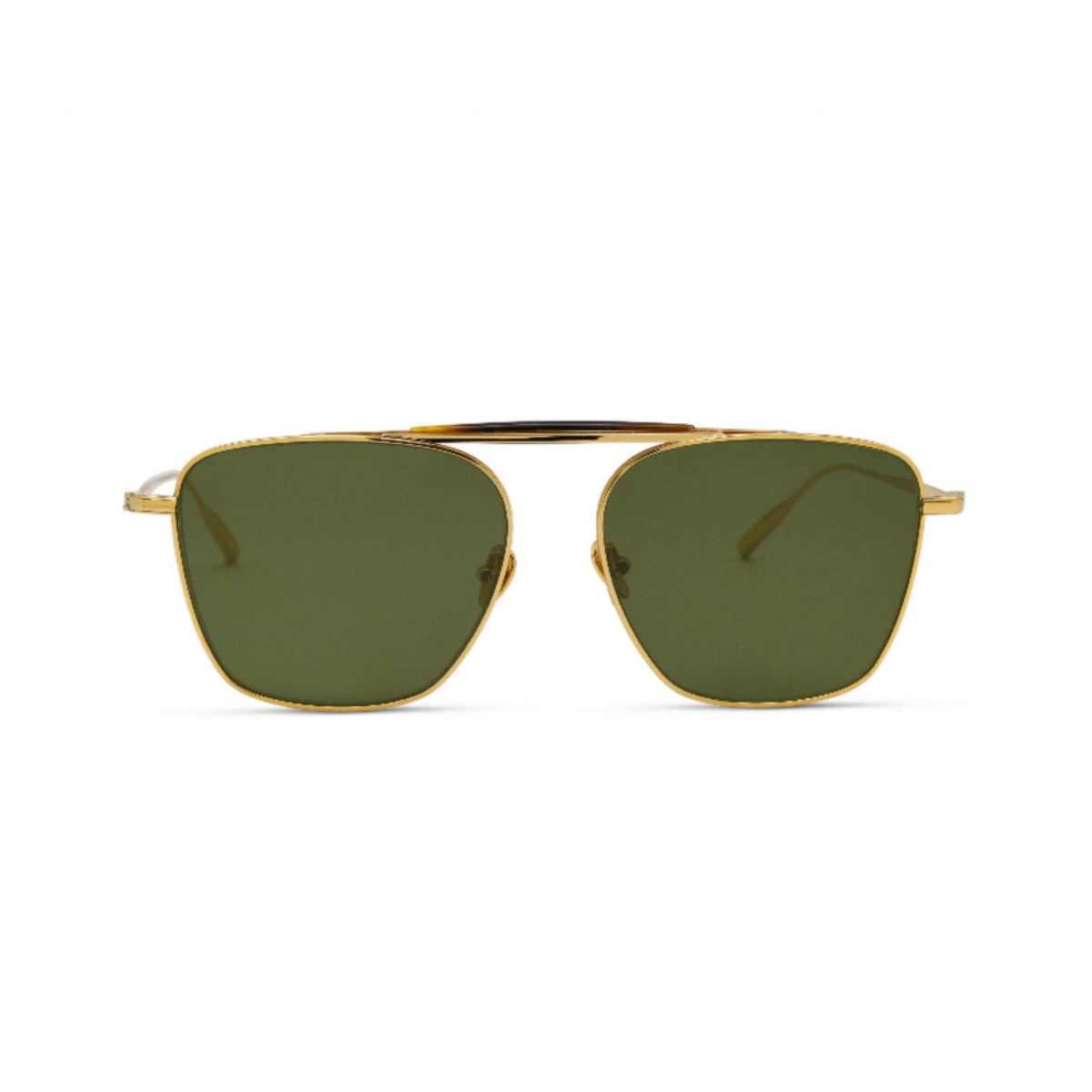 BENJAMIN - 18K Gold Aerospace Titanium Frame with Solid Green Lens by Amavii, available on amavii.com for $225 Gigi Hadid Sunglasses Exact Product