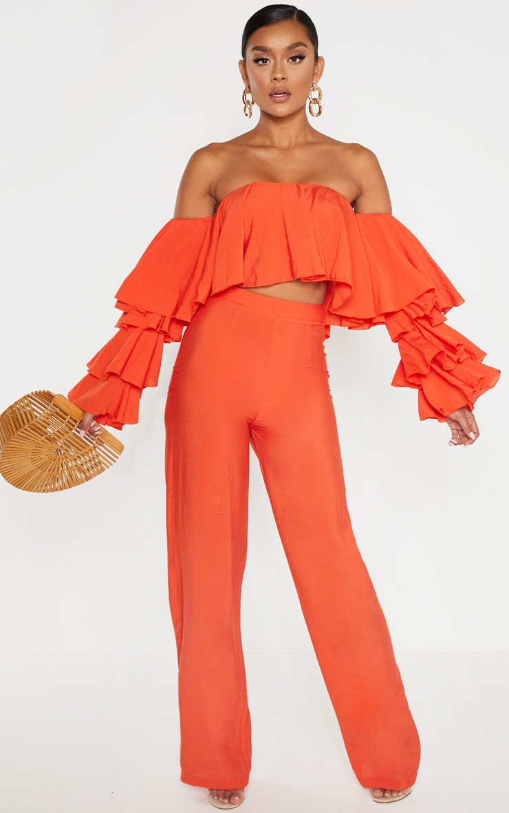 BRIGHT ORANGE WOVEN HIGH WAISTED WIDE LEG PANTS by Pretty Little Thing, available on prettylittlething.us for $48 Gigi Hadid Pants Exact Product