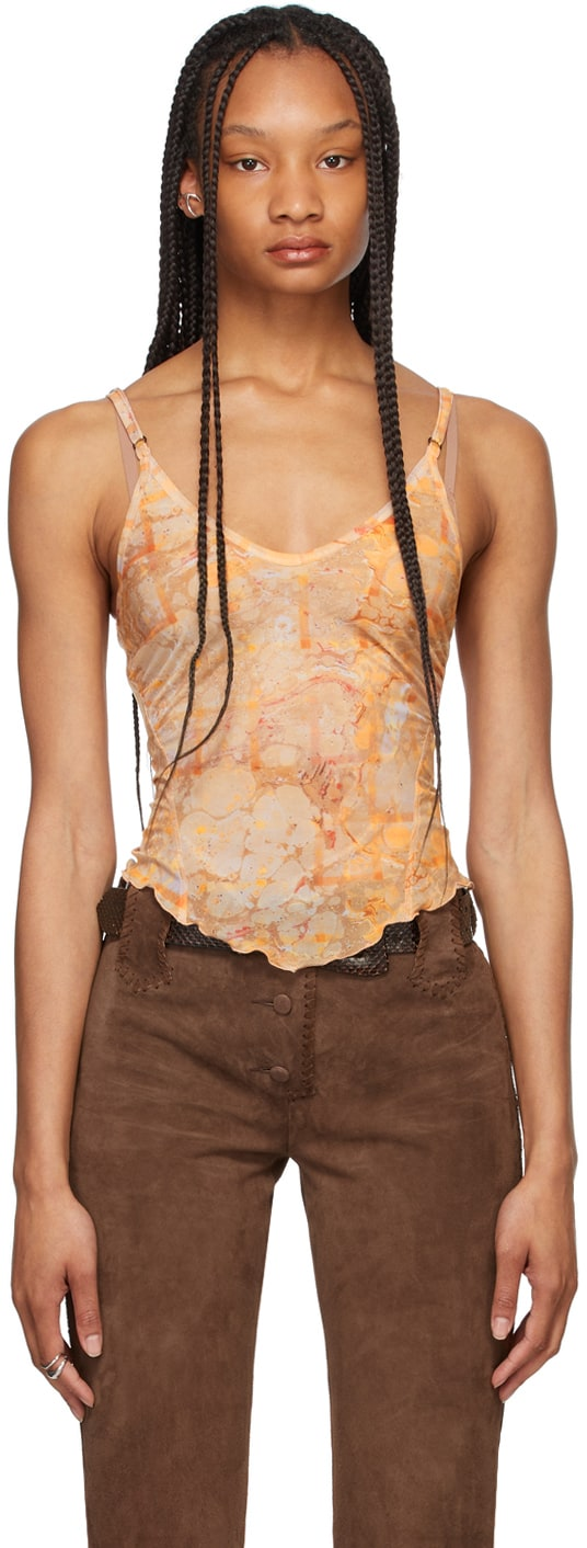 Beige Halcyon Tank Top by Ssense, available on ssense.com for $365 Gigi Hadid Top Exact Product