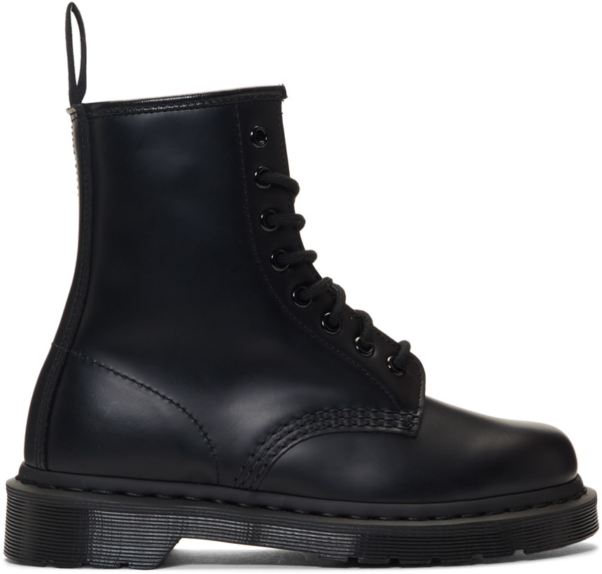 Black 1460 Mono Lace-Up Boots by Dr. Martens, available on ssense.com for $140 Gigi Hadid Shoes Exact Product