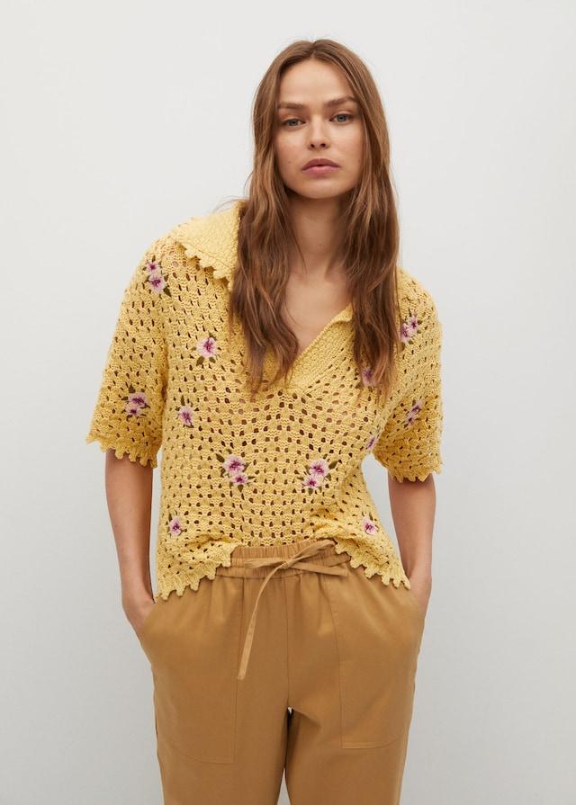 Floral crochet polo by Mango, available on mango.com Gigi Hadid Top Exact Product