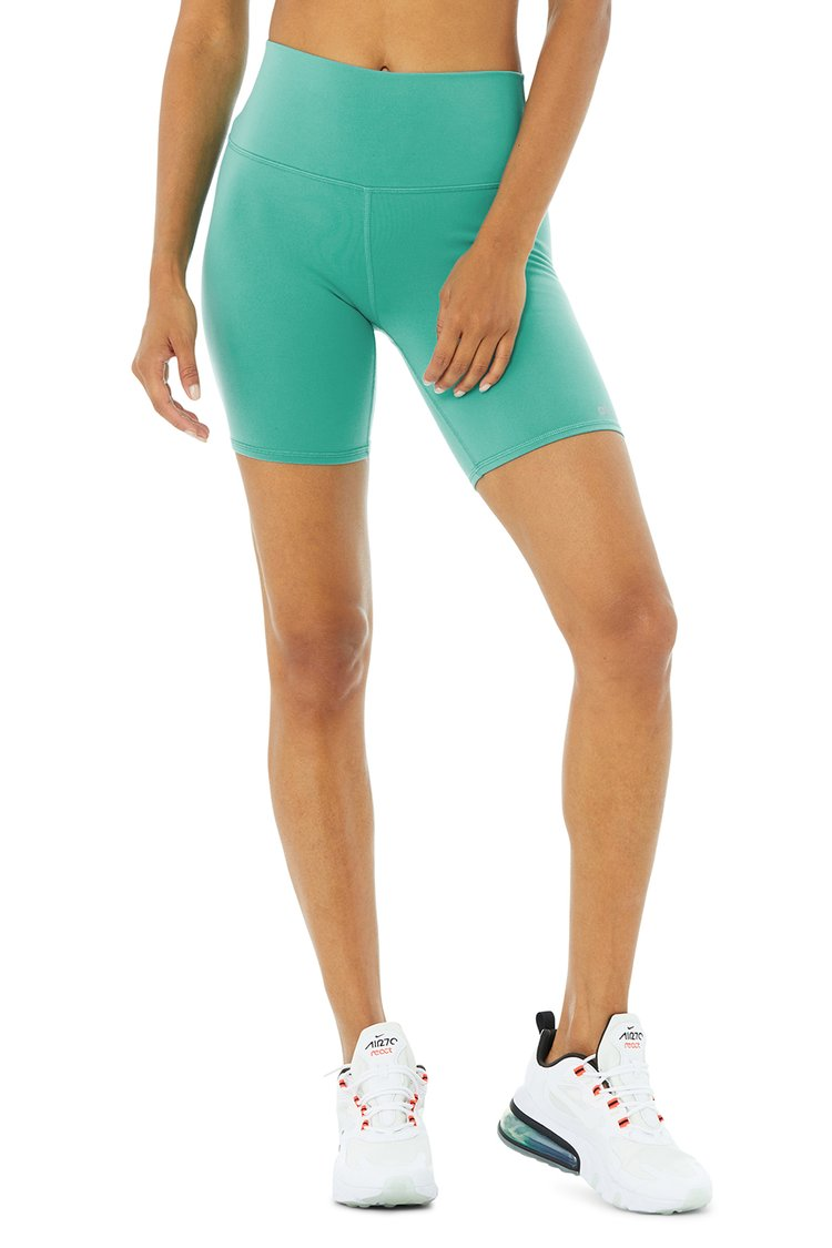 HIGH-WAIST BIKER SHORT by Alo Yoga, available on aloyoga.com for $56 Gigi Hadid Shorts Exact Product