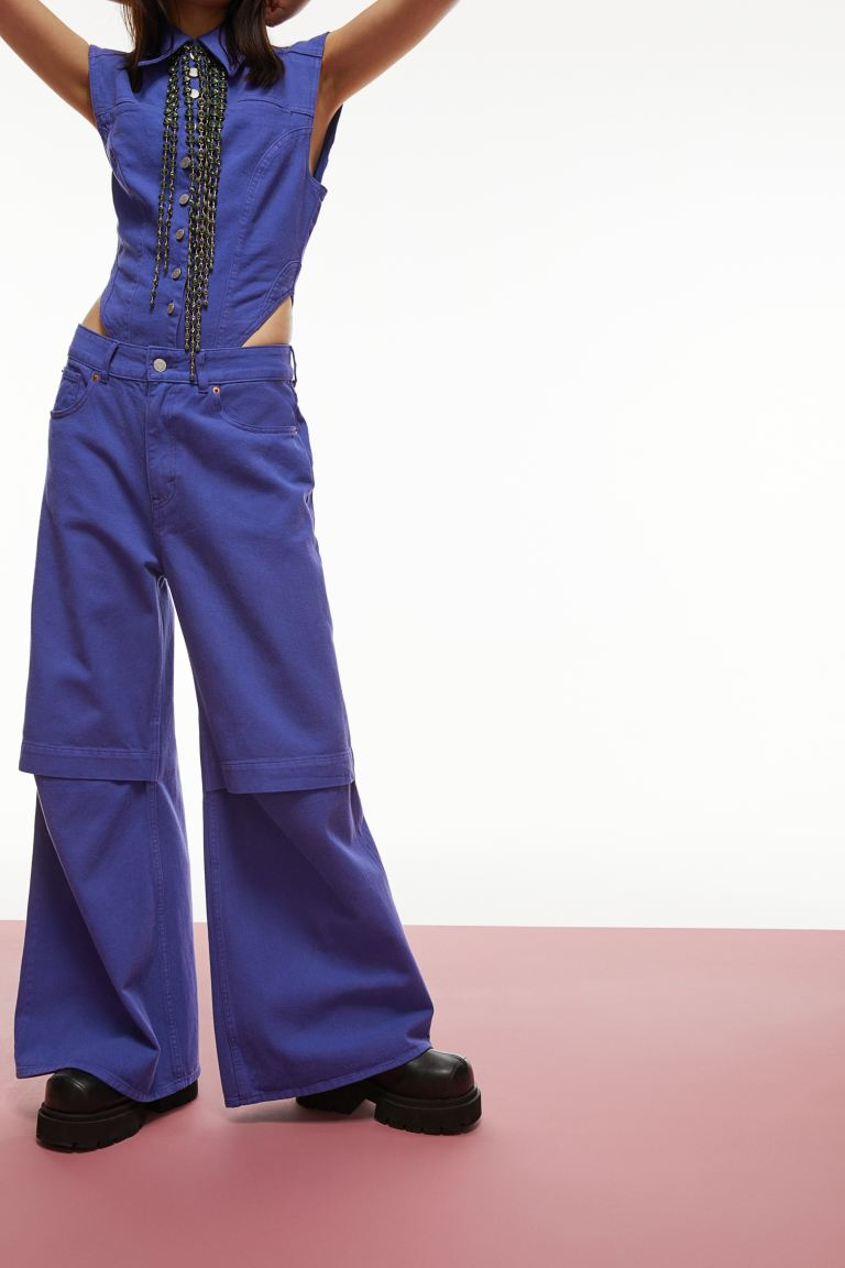 Oversized Cut-out Jeans by H&M, available on www2.hm.com for $69.99 Gigi Hadid Pants Exact Product