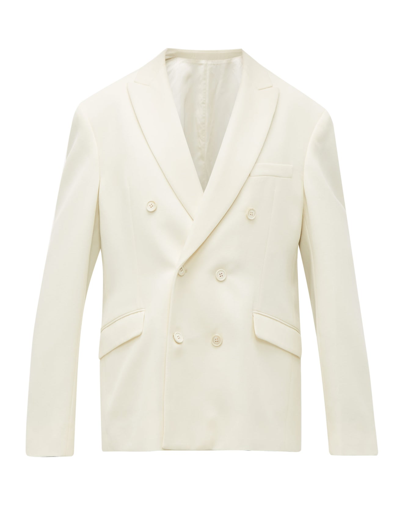 Release 04 double-breasted merino wool blazer by Wardrobe NYC, available on matchesfashion.com for EUR758 Gigi Hadid Outerwear Exact Product
