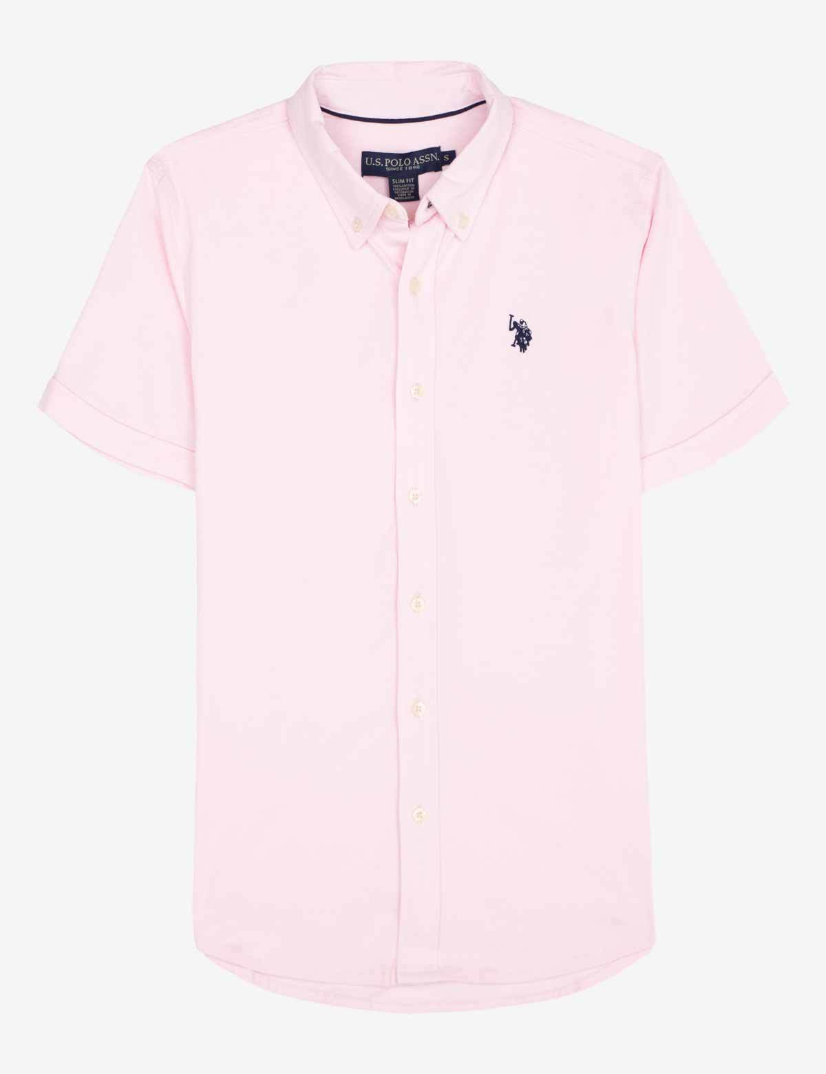 SOLID BUTTON UP JERSEY SHIRT by US Polo, available on uspoloassn.com for $24 Gigi Hadid Top SIMILAR PRODUCT