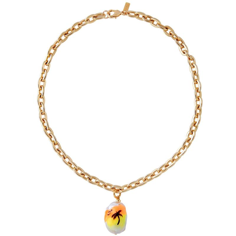 SUNSET DRIVE NECKLACE by Joolz, available on marthacalvo.com for $155 Gigi Hadid Jewellery Exact Product