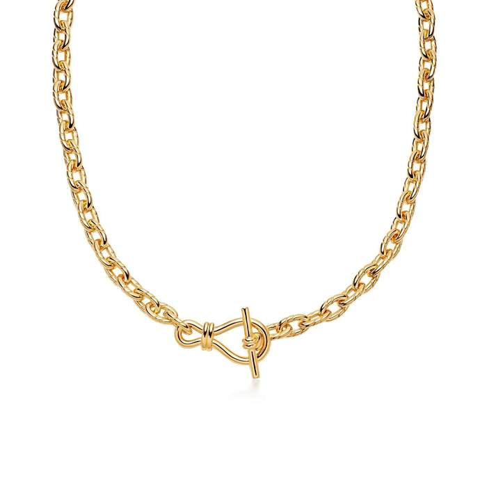 Twisted Link T-Bar Chain Necklace by Missoma, available on missoma.com for $420 Gigi Hadid Jewellery Exact Product