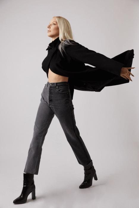 Winona Grey Jeans by EB DENIM, available on ebdenim.com for $280 Gigi Hadid Pants Exact Product