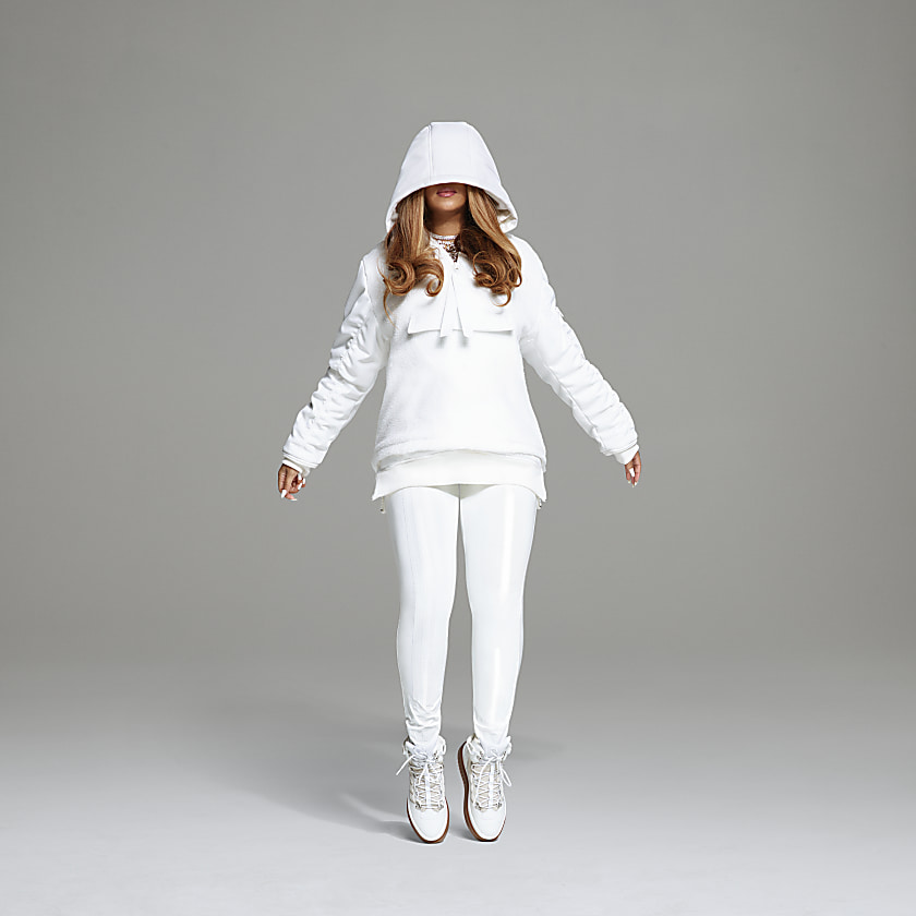 1/2 ZIP SHERPA LAYERED JACKET by Adidas, available on adidas.com for $180 Hailey Baldwin Top Exact Product