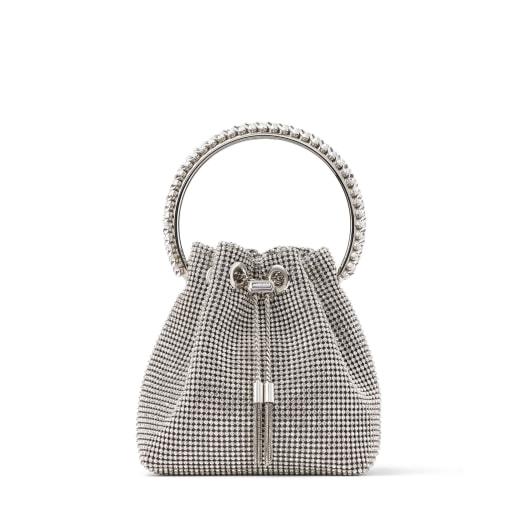 BON BON Silver Satin Crystal Mesh Bag with Crystal Handle by Jimmy choo, available on jimmychoo.com for EUR3350 Hailey Baldwin Bags Exact Product
