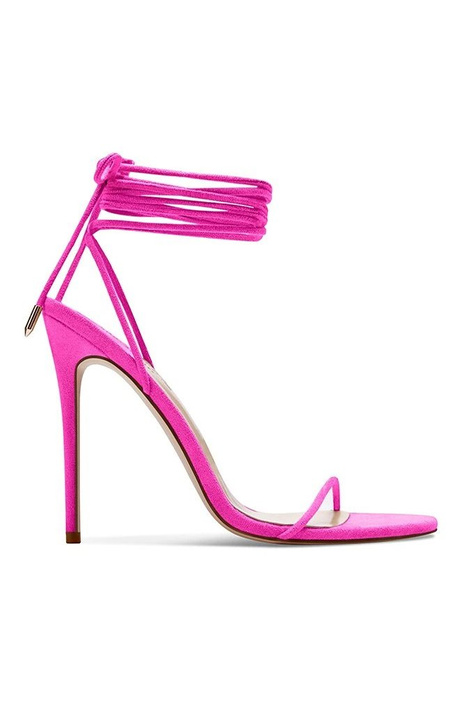 Barely There Lace Up Heel - Deep Pink by Femme Shoes, available on femme.la for $169 Hailey Baldwin Shoes Exact Product