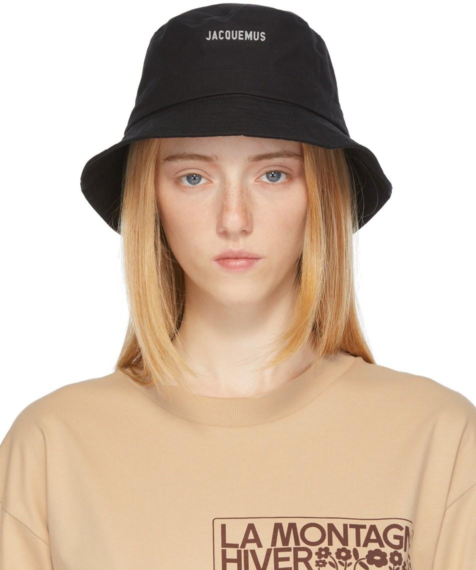 Black La Montagne 'Le Bob Gadjo' Beach Hat by Jacquemus, available on ssense.com for $105 Hailey Baldwin Hat Exact Product