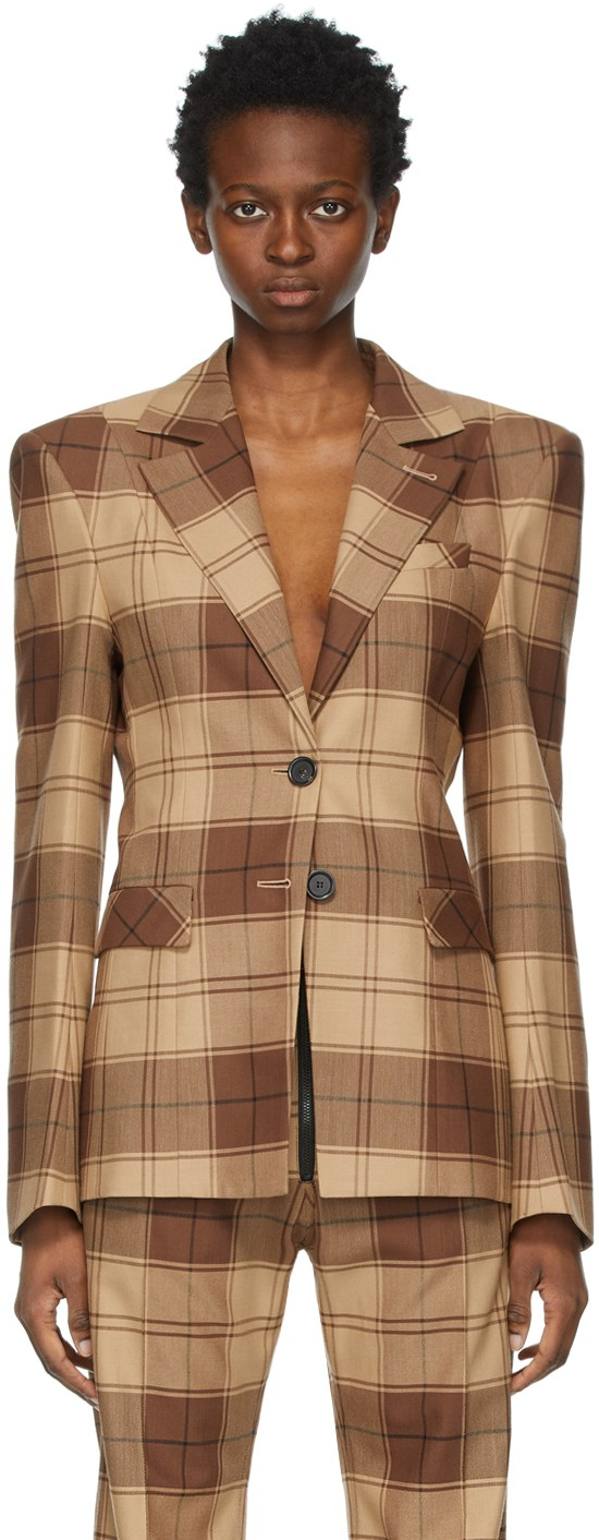 Brown Plaid Blazer by KWAIDAN EDITIONS, available on ssense.com for $1725 Hailey Baldwin Outerwear Exact Product