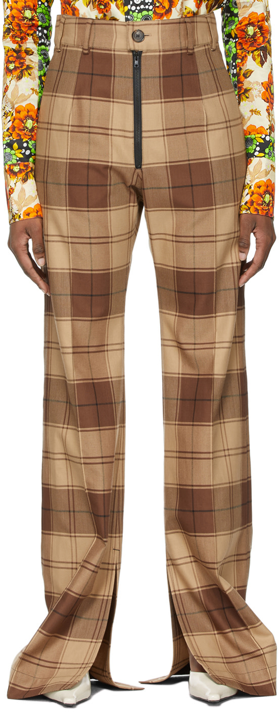 Brown Plaid Trousers by KWAIDAN EDITIONS, available on ssense.com for $990 Hailey Baldwin Pants Exact Product
