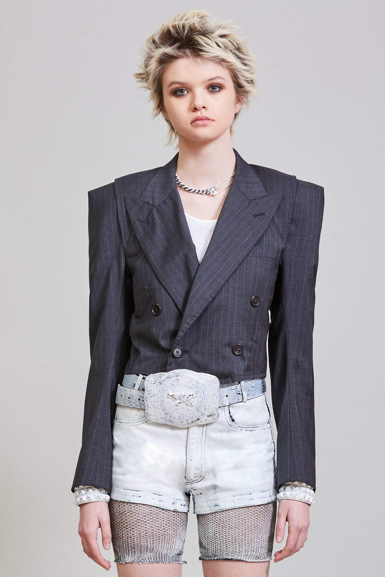 CROPPED BLAZER - GREY PINSTRIPE by R13, available on r13denim.com for $1300 Hailey Baldwin Outerwear Exact Product