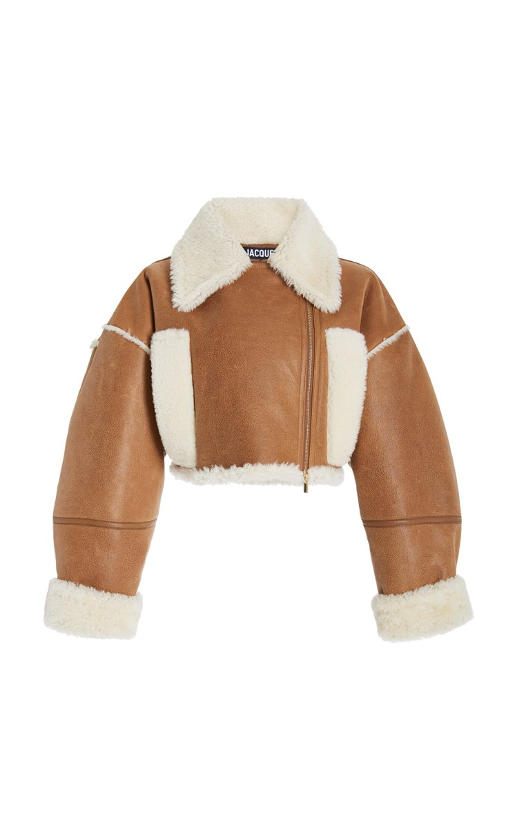 Cropped Shearling-Lined Leather Jacket by Jacquemus, available on modaoperandi.com for $3215 Hailey Baldwin Outerwear Exact Product