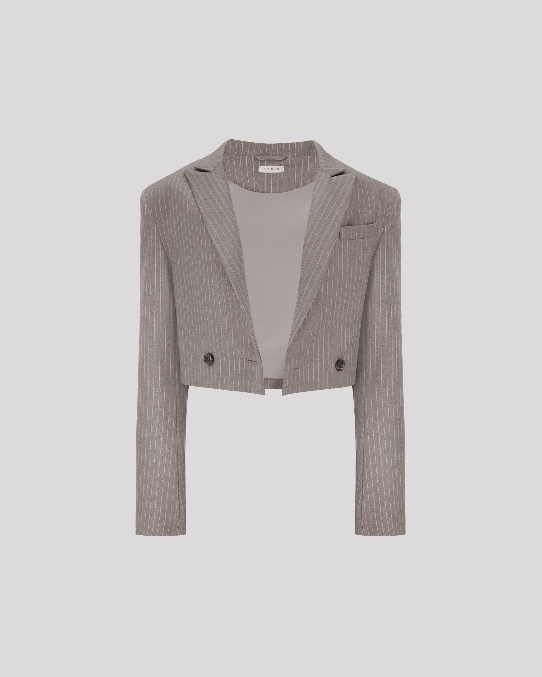 Cropped oversized blazer by PRATO IN TAUPE, available on themannei.com Hailey Baldwin Outerwear Exact Product