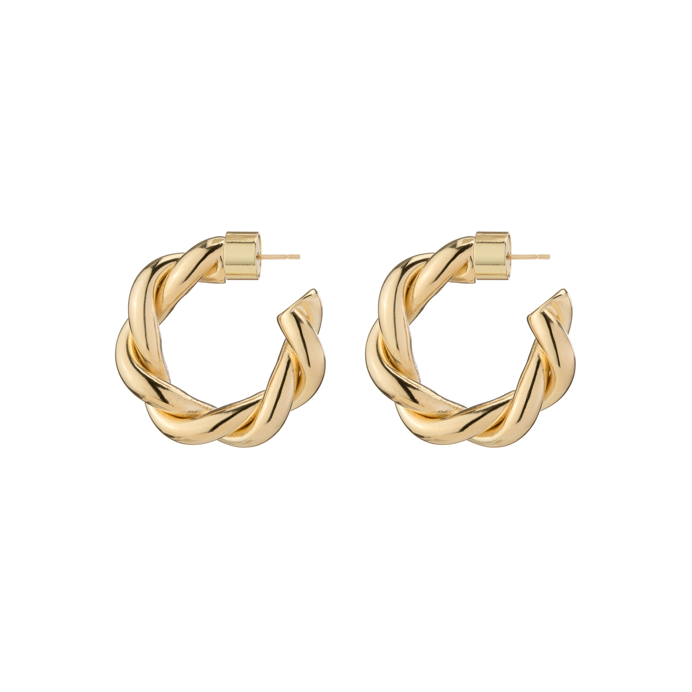 DOUBLE TWISTED LILLY HUGGIES by Jennifer-Fisher, available on jenniferfisherjewelry.com for $295 Hailey Baldwin Jewellery Exact Product