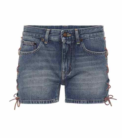 Denim shorts by Saint Laurent, available on mytheresa.com for EUR325 Hailey Baldwin Shorts SIMILAR PRODUCT