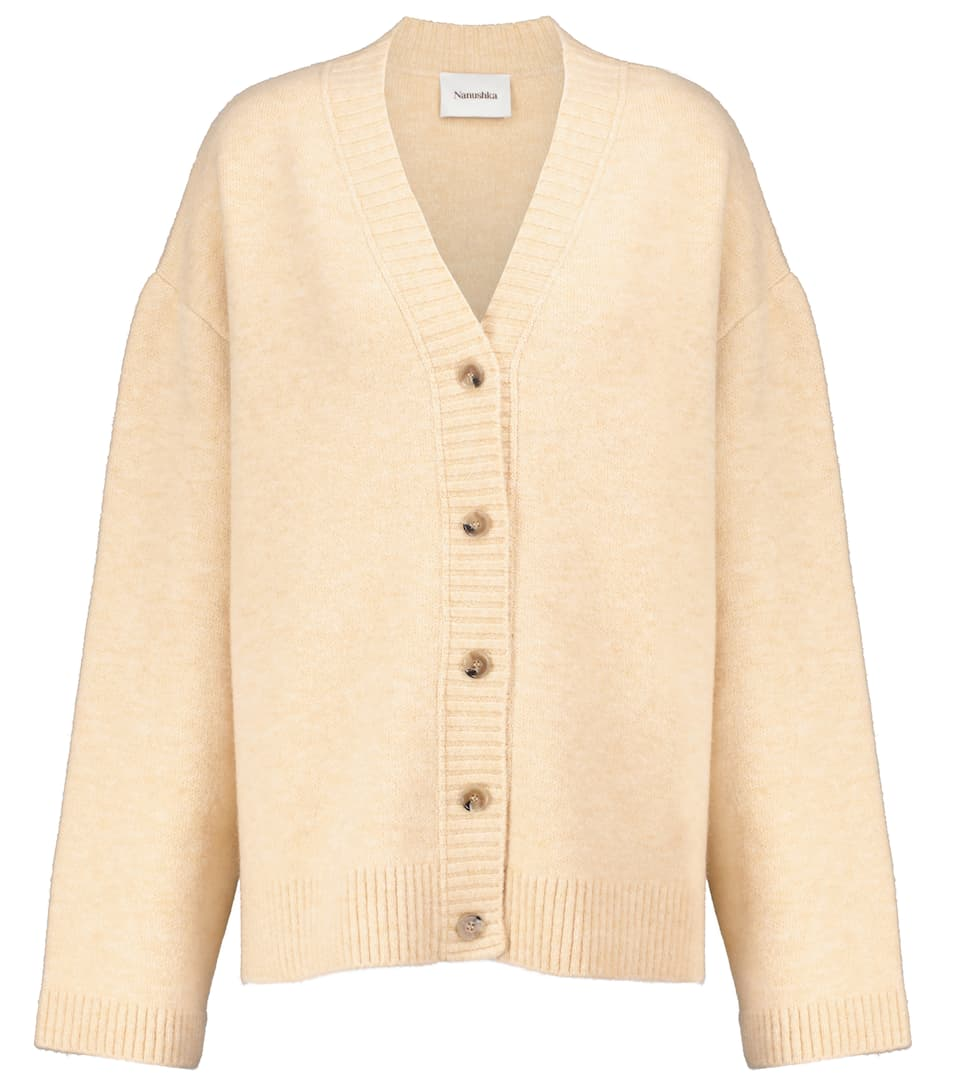 Eder wool-blend cardigan by NANUSHKA, available on mytheresa.com for EUR184 Hailey Baldwin Outerwear Exact Product