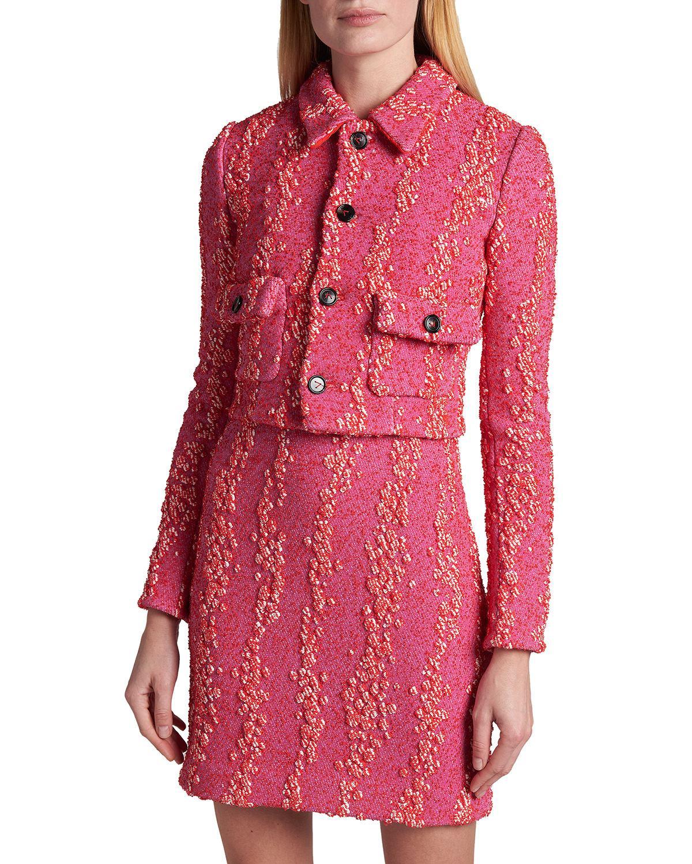 Embellished Boucle Jacket by Bottega Veneta, available on neimanmarcus.com for $2500 Hailey Baldwin Outerwear Exact Product