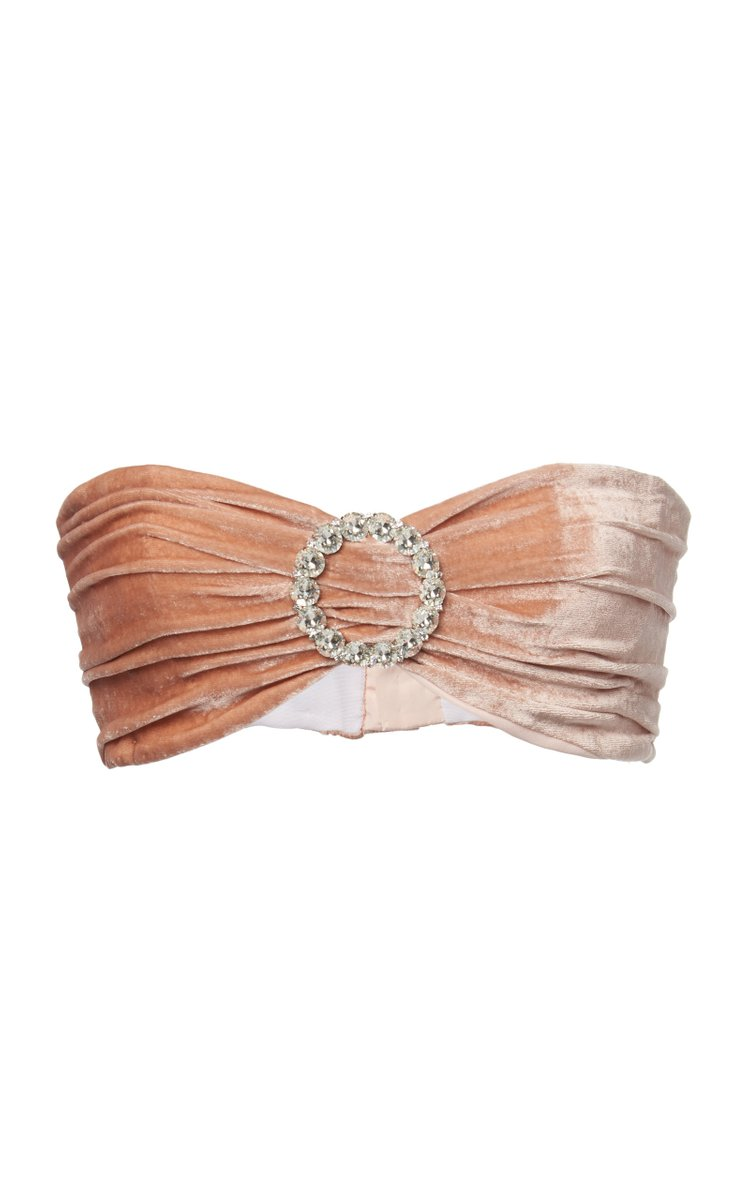 Embellished Silk-Velvet Bandeau Top by Alessandra Rich, available on modaoperandi.com for $660 Hailey Baldwin Top Exact Product