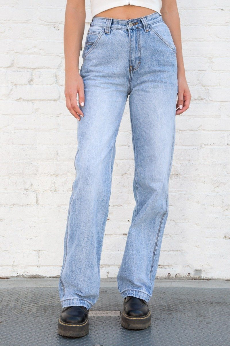 FEANNE LIGHT WASH JEANS by Brandy Melville, available on brandymelville.com for $40 Hailey Baldwin Pants Exact Product