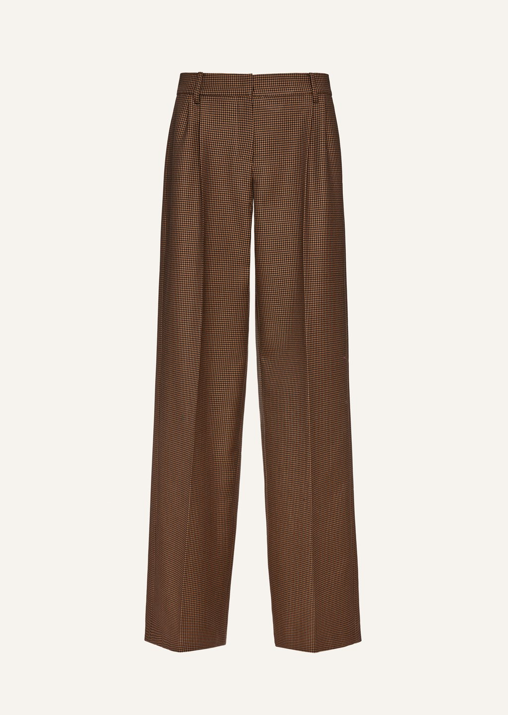 Flare leg wool pants in brown houndstooth by Magda Butrym, available on magdabutrym.com for $870 Hailey Baldwin Pants Exact Product