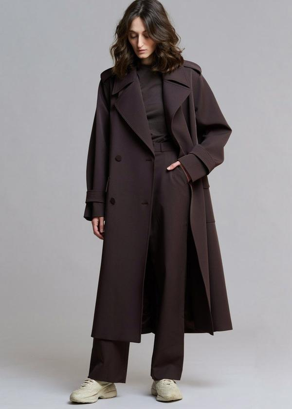 GABARDINE DOUBLE BREASTED SUIT TRENCH IN JAVA by The Frankie Shop, available on thefrankieshop.com for $404 Hailey Baldwin Outerwear Exact Product