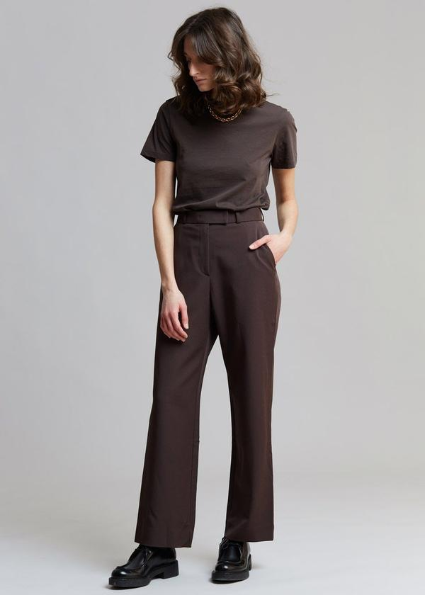 GABARDINE FULL LENGTH SUIT PANTS IN JAVA by The Frankie Shop, available on thefrankieshop.com for $99 Hailey Baldwin Pants Exact Product