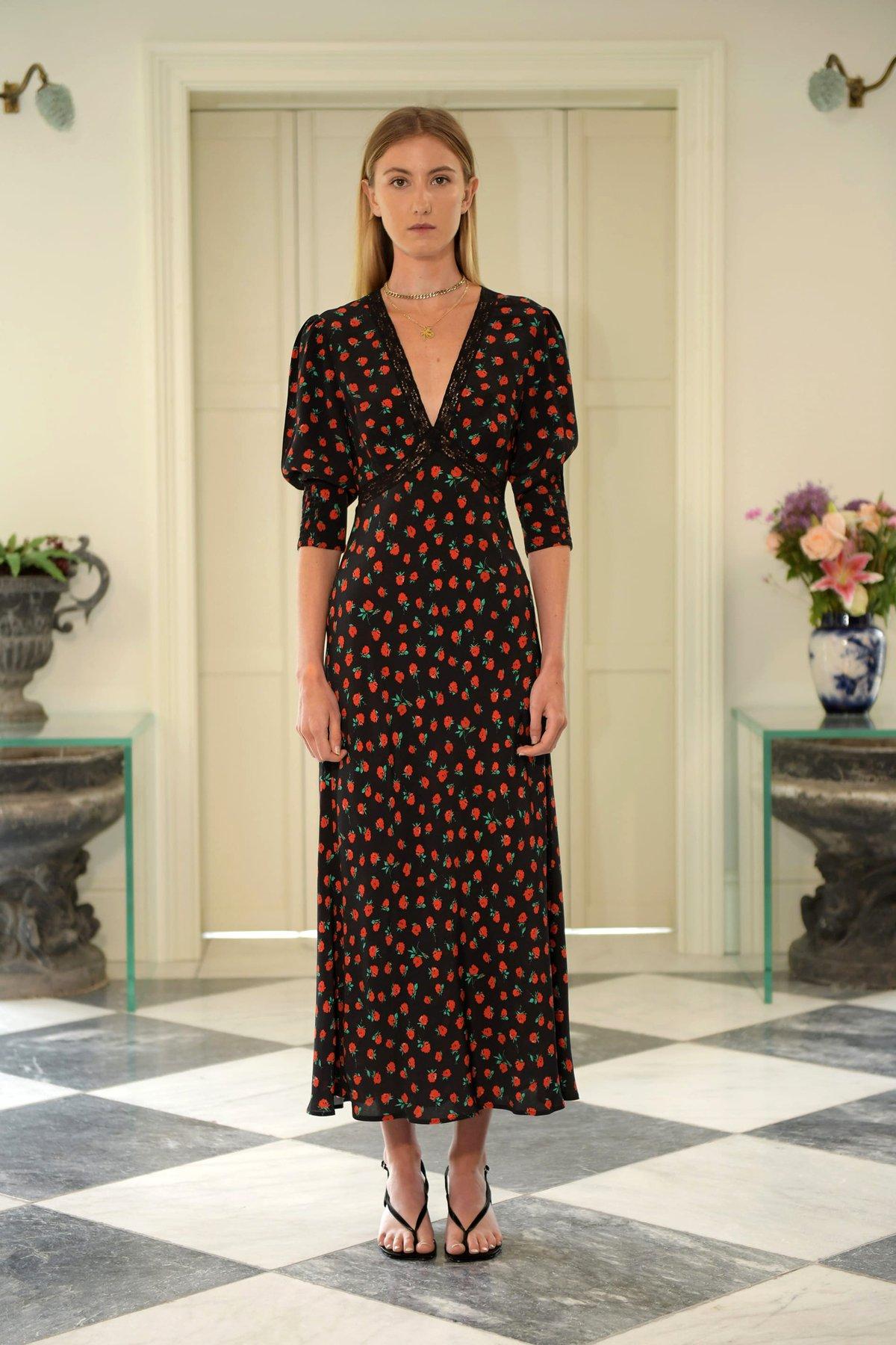 GEMMA VINTAGE ROSE - BLACK by Rixo, available on rixo.co.uk for EUR265 Hailey Baldwin Dress Exact Product