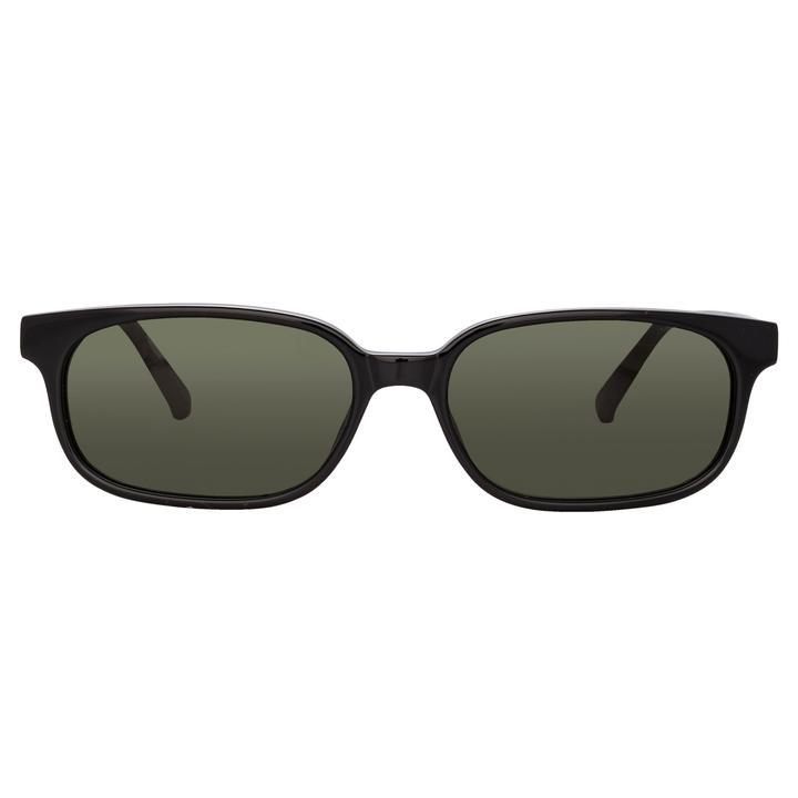 GIGI RECTANGULAR SUNGLASSES IN BLACK by The Attico, available on lindafarrow.com for $250 Hailey Baldwin Sunglasses Exact Product