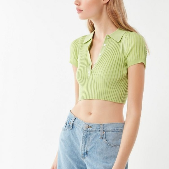 Grassy Cropped Polo Shirt by Urban Outfitters, available on poshmark.com for $13 Hailey Baldwin Top Exact Product