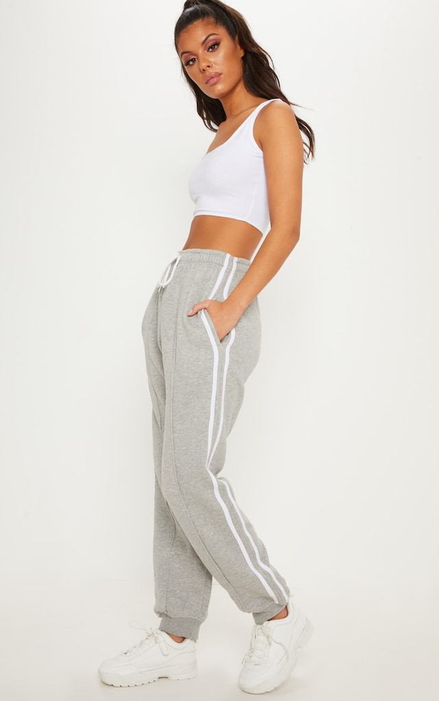 Grey Double Side Stripe Jogger by Pretty Little Thing, available on prettylittlething.com for £12 Hailey Baldwin Pants SIMILAR PRODUCT