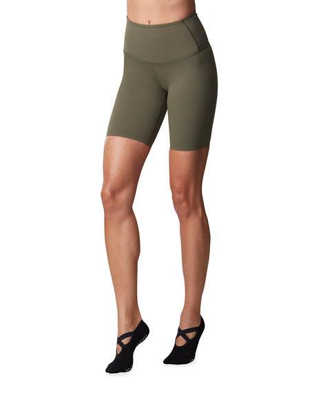 High-Rise Biker Shorts by Tavi Noir, available on neimanmarcus.com for $68 Hailey Baldwin Shorts Exact Product